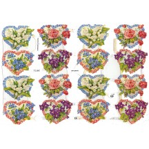 Heart Floral Scraps with Silver Glitter ~ Germany